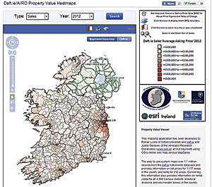 Ireland's first subcounty house price mapping toolkit tracks sales and rental changes from 2007 to 2012.