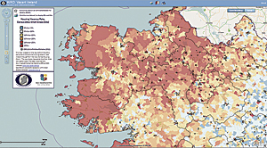 "Detailing the level of housing vacancy and ""Ghost Estates"" across the Irish landscape with red zones representing areas with a housing vacancy rate greater than 25 percent."