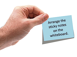 Arrange the sticky notes on the whiteboard