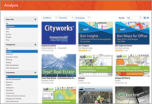 Easily discover apps and data that will work with your ArcGIS online account.