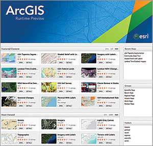 Locate, view, and interact with web maps using Mac OS X. This preview application was built with ArcGIS 10.2 Runtime SDK for OS X. Developers can access the application from ArcGIS Online or adapt its source code from GitHub.