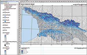 One of the map products, a five-class snow avalanche hazard map in ArcGIS.