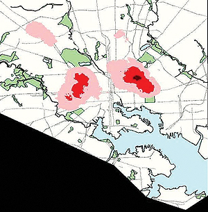 CitiStat maps highlighting shootings and homicides in Baltimore in 1999. Tinting denotes intensity.