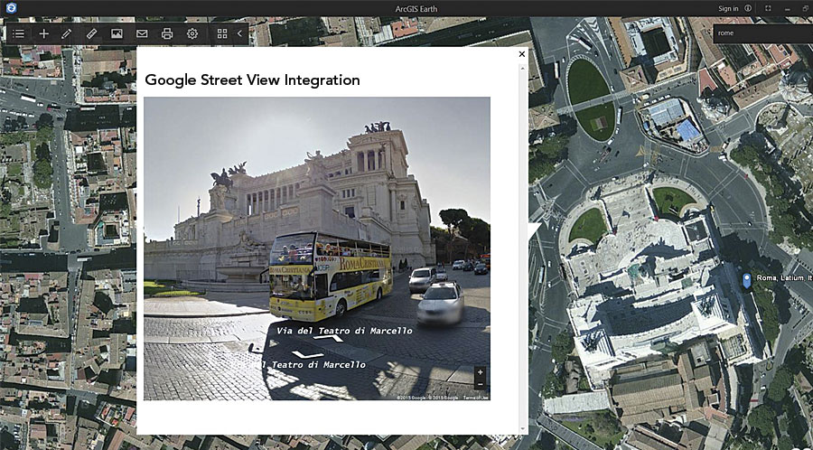with a google apps api key google street view can be integrated inside arcgis earth