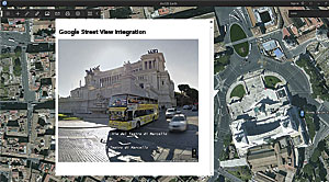 With a Google Apps API key, Google Street View can be integrated inside ArcGIS Earth to give users an on-the-ground look at places such as the National Museum of Italian Emigration in Rome, Italy.