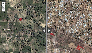 Images from a GICHD story map show how, in Maputo, Mozambique, the removal of land mines (from the red areas) stimulated development in the surrounding community.