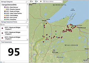 Decision-makers at Wisconsin Emergency Management (WEM) and the Federal Emergency Management Agency (FEMA) used Operations Dashboard for ArcGIS to see the damage cost assessments as they came in from the field.