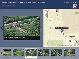 Using aerial imagery from the Civil Air Patrol, it took the GIS team only a few hours to build a Story Map Tour app of the flood damage.