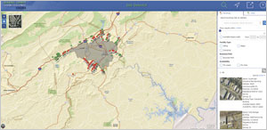 Roanoke County's Site Selector app, developed by GISinc, helps businesses find available buildings and sites.