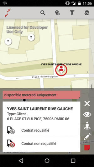 Sector managers can search a map on their smartphones to find client locations. They can also view client contracts with the Société des Auteurs Compositeurs et Editeurs de Musique (SACEM) on their phones.