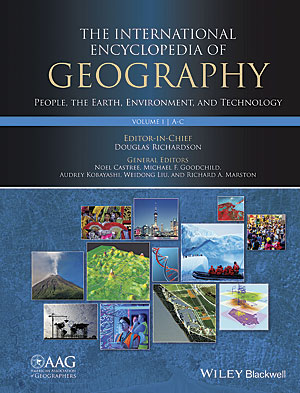 The International Encyclopedia of Geography: People, the Earth, Environment, and Technology consists of 15 volumes and more than 1,000 detailed entries about the concepts, research, and techniques of geography.