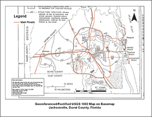 Georeferenced/Rectified USGS 1982 map on basemap for Jacksonville