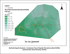 SAS limestone aquifer—top of aquifer elevations (feet NGVD) for Jacksonville