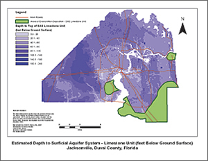 Estimated depth to SAS—limestone unit (feet below ground surface) for Jacksonville