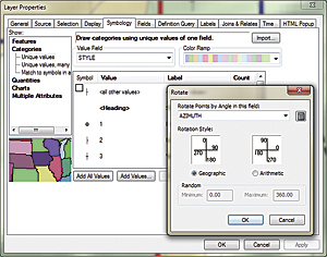 In the Properties dialog box for the Structure_Points1 layer, click the Symbology tab, click the Advanced button, and click Rotation. Verify that Geographic azimuth is selected and set AZIMUTH as the rotation.