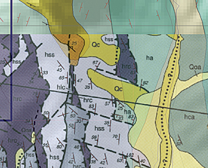 To check the accuracy of the symbol rotation, load a small image of a clipped portion of a geologic map of Antler Peak.