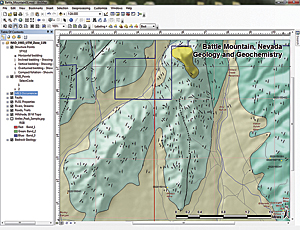 In the last step, turn GNIS_Points and MILS Occurrences layers back on and zoom the layout scale to 100 percent to preview the final map printout.