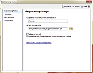 Create a geoprocessing package by simply right-clicking the results of a process in the Results window and choosing Share As > Geoprocessing Package.