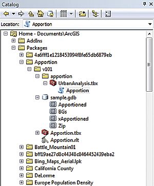 Unpacked geoprocessing packages appear on the Shared node in the Results window. The package file itself resides on your ArcGIS user folder.