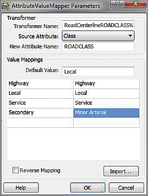 RoadCenterlineROADCLASSValueMapper will match values from the Class field in PDStreets.shp to values in the ROADCLASS field.