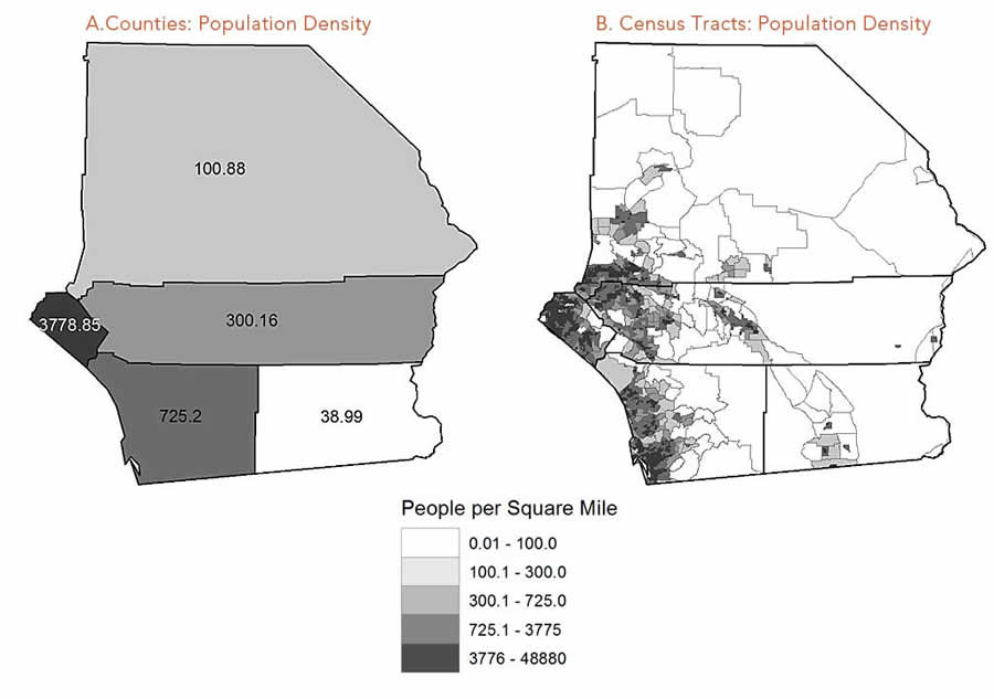 Figure 3 Mapping The Population Density For Census Tracts B Reveals That The People Are Concentrated In The Southwest A Fact Obscured By The Population