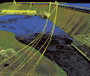Point cloud of the Grand Coulee Dam symbolized relative to height above ground (Source: National Oceanic and Atmospheric Administration Coastal Services Center)