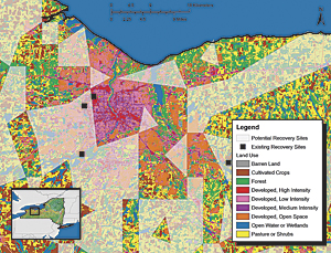 This land-use map displays where new PV recovery sites could be located in comparison to existing sites given land use, elevation, and distance from public schools criteria.