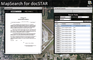 MapSearch for docSTAR associates documents to geographic locations. It can search by keyword or by clicking on the map.