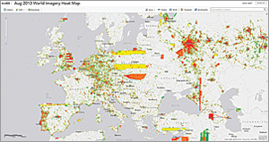 A heat map, produced by refining ArcGIS Online log file data using the Esri Big Data tools, reveals that World Imagery map service use is concentrated around urban areas in Europe for August 2013.