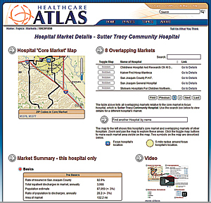 Users can geobrowse hospitals in any part of California and discover information about any of those facilities.
