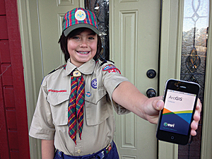 The author and his son, Joshua, created a web map on ArcGIS Online and used Collector for ArcGIS to manage popcorn sales for Cub Scouts fund-raising.