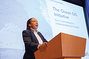 "Esri chief scientist Dawn Wright invited those attending the Ocean GIS Forum to accompany her on a ""hero's journey across the ocean to move from what is to what can be."""