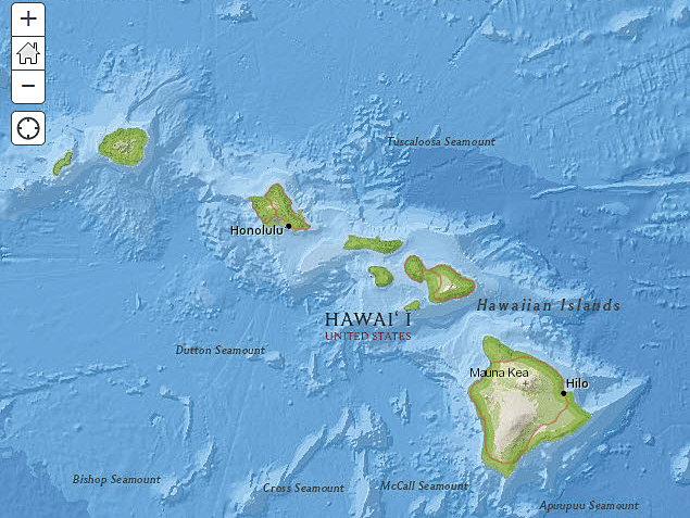 Using arcgis online elevation and hydrology analysis services arcuser arcgis online web map of the hawaiian islands gumiabroncs Gallery