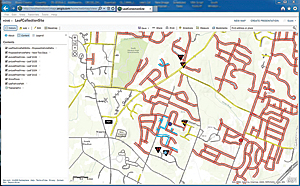 The streets in red show where leaves have been collected, while the streets in yellow show where leaves will be collected over the next two days. Blue markings show the map updating as leaf collection vehicles move through the neighborhoods gathering leaves.