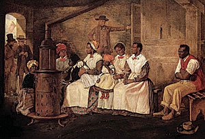 Eyre Crowe, an English painter who arrived in Richmond in March 1853, witnessed several slave auctions and recorded what he saw in his powerful painting <em>Slaves Waiting for Sale</em>.