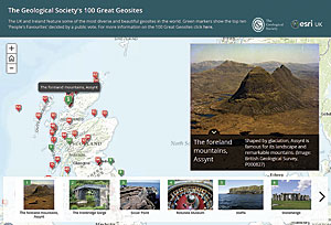 The UK Geological Society's 100 Great Geosites app is available as a web, iOS, and Android app.
