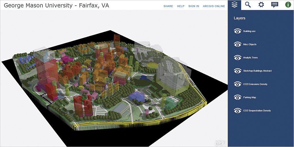 The Completed Model Of The George Mason University Campus In The Cityengine Web Scene