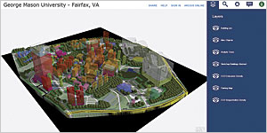 The completed model of the George Mason University campus in the CityEngine Web Scene.