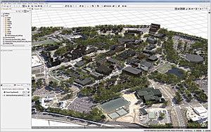 A wide-angle view of the campus model showing realistic trees and ground imagery