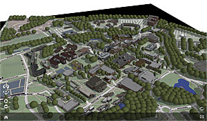 Campus model viewed as a web scene