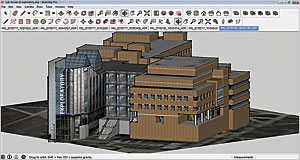 Geolocated buildings were created in SketchUp using camera images with the Match Picture feature.