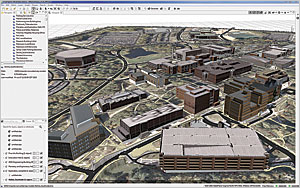 Imported models and CityEngine models on an OSM satellite image in CityEngine