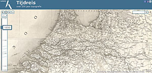 The topotijdreis.nl website lets visitors view the transformation of the Dutch landscape from the 1800s to the present, shown in these maps from 1850, 1950, and 2015.