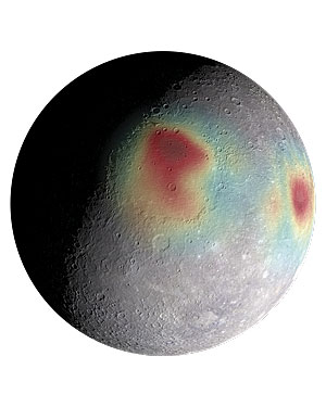 A shape model shows Mercury's gravity anomalies, which indicate by color the planet's subsurface structure and evolution. Image credit: NASA/Johns Hopkins University Applied Physics Laboratory/Carnegie Institution of Washington.