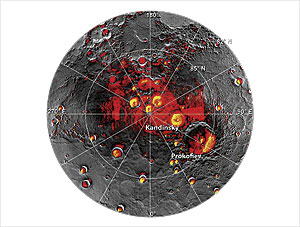 A map of permanently shadowed regions and radar-bright polar deposits in the northern polar region of Mercury. MESSENGER data has shown that the radar-bright deposits are composed of water ice, sometimes beneath a lag of organic material. Image credit: NASA/Johns Hopkins University Applied Physics Laboratory/Carnegie Institution of Washington.
