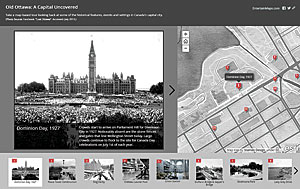 Old Ottawa: A Capital Uncovered provides context for historical photos of features, events, and settings on a map of Canada's capital.