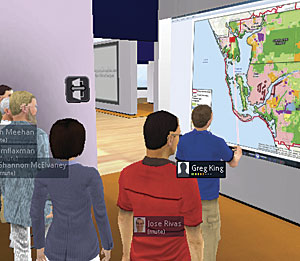 The avatar of a student focuses a red laser simulator at a digital map of Lee County, Florida, in a virtual classroom with the avatars of fellow students and faculty during a presentation.