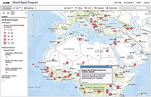 The World Bank geocoded and mapped 30,000 geographic locations for more than 2,500 bank-financed projects worldwide under its Mapping for Results initiative. This map and many other maps and layers have been shared on ArcGIS Online.