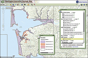 A layer showing inundation from tsunamis is part of the Washington Interactive Geologic Map.
