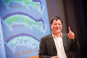 Kongjian Yu, the keynote speaker at the 2014 Geodesign Summit, urged his audience to work with nature using geodesign techniques. His firm has used geodesign to transform neglected and polluted areas into wetland parks.